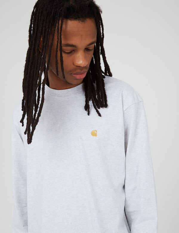 Carhartt-WIP Chase Long Sleeve T-Shirt - Ash Heather/Gold