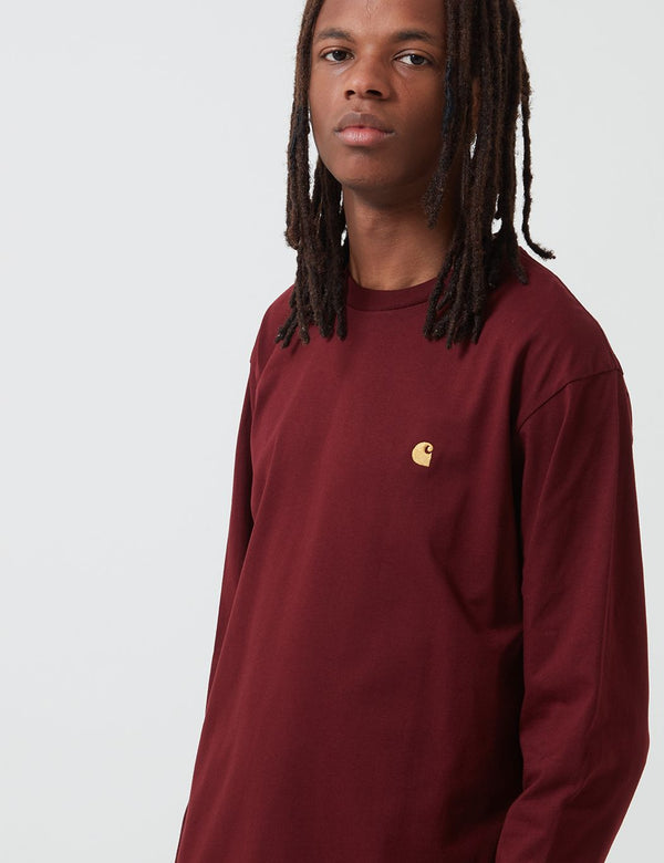 Carhartt-WIP Chase Long Sleeve T-Shirt - Bordeaux/Gold