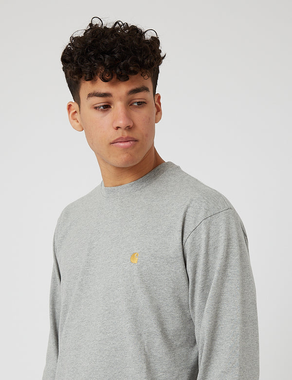 Carhartt-WIP Chase Long Sleeve T-Shirt - Grey Heather/Gold