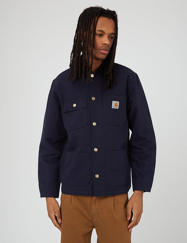 Carhartt-WIP Michigan Coat (Organic Cotton, 12 oz) - Dark Navy/Black Rinsed
