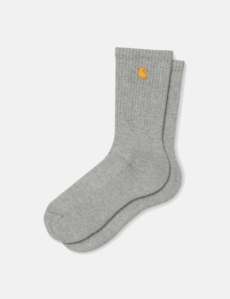 Carhartt-WIP Chase Socks - Grey Heather/Gold