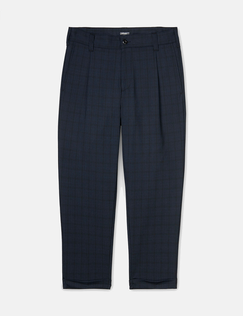 Carhartt-WIP Taylor Pant (Armstrong Check) - Navy Blue rigid