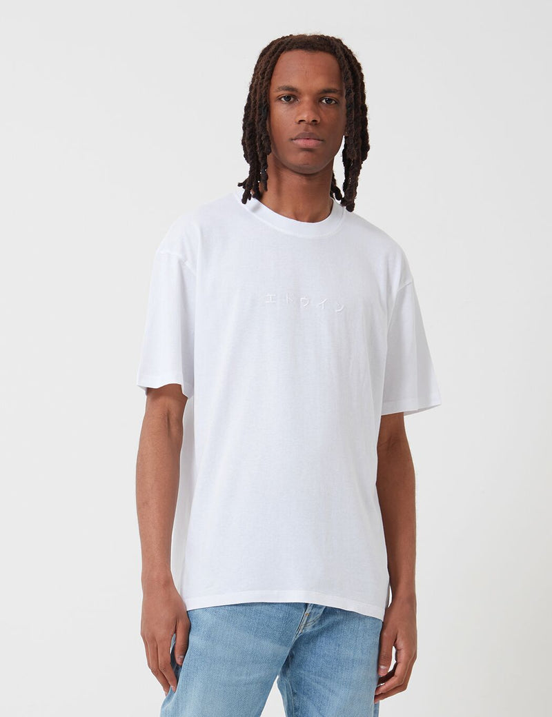 Edwin Katakana Embroidery T-Shirt - White