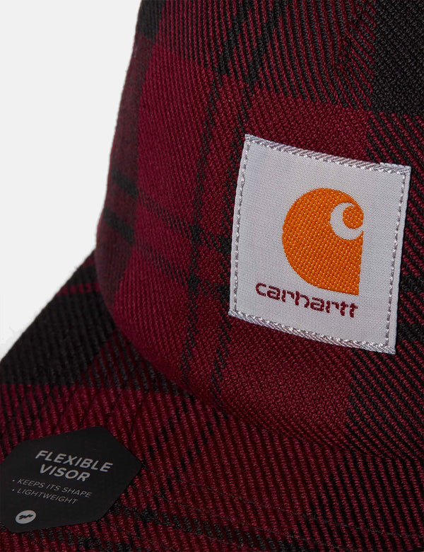 Casquette Carhartt-WIP Pulford (Check) - Merlot