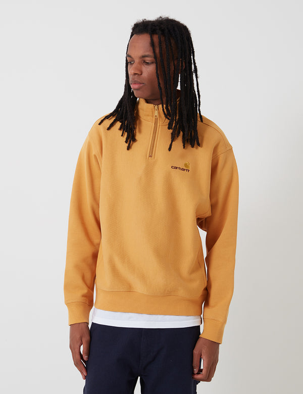 Sweat Carhartt-WIP American Script (Half Zip) - Winter Sun