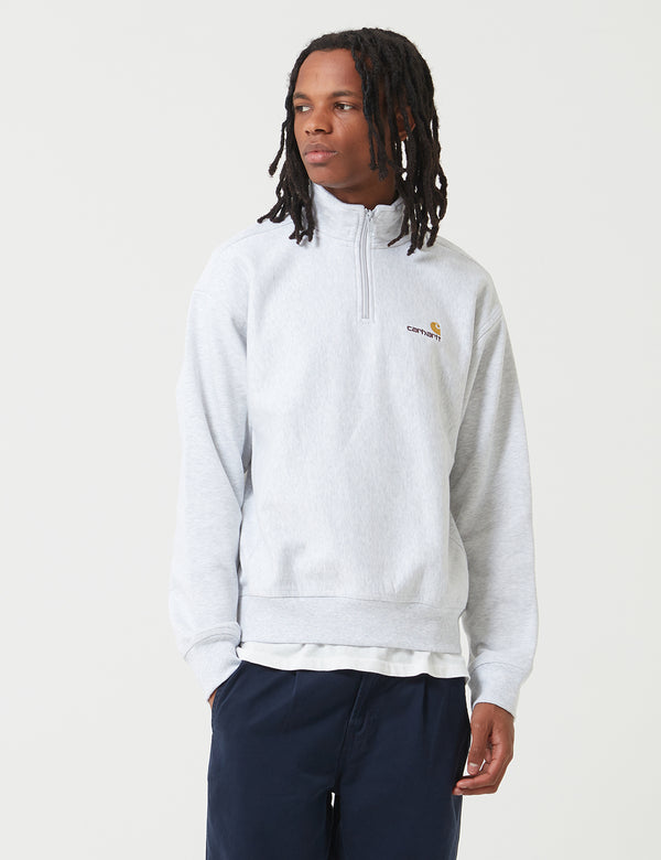 Carhartt-WIP American Script Half-Zip Sweat - Ash Heather