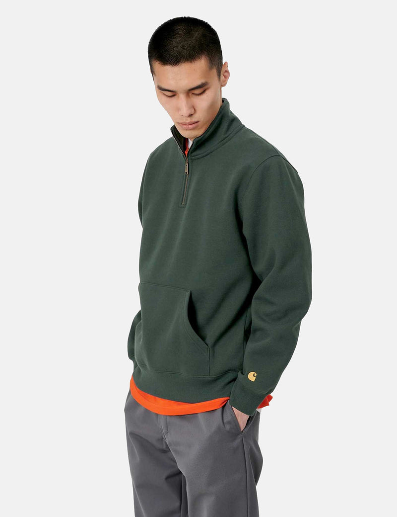Carhartt-WIP Chase Neck Zip Sweatshirt - Dark Teal/Gold