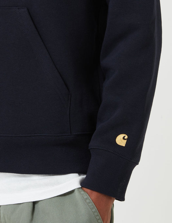 Carhartt-WIP Chase Neck Zip Sweatshirt - Dark Navy/Gold