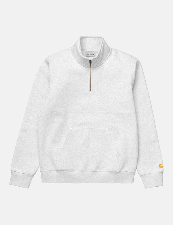 Carhartt-WIP Chase Neck Zip Sweatshirt - Ash Heather/Gold