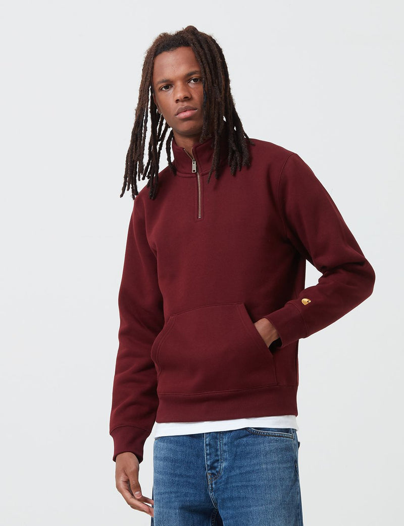 Carhartt-WIP Chase Neck Zip Sweatshirt - Bordeaux/Gold