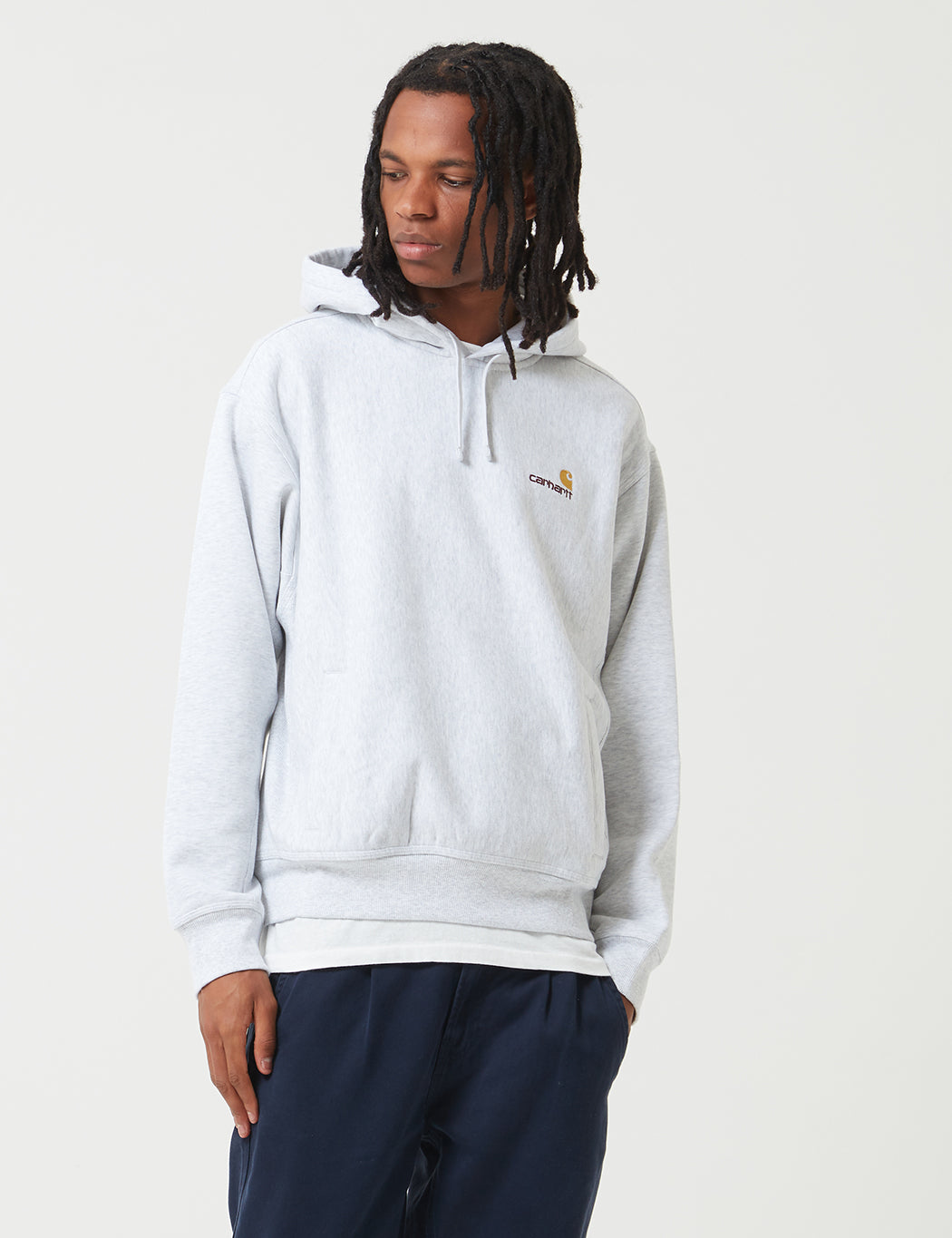 Carhartt American Script Hooded Sweat - Ash Heather  | URBAN EXCESS.