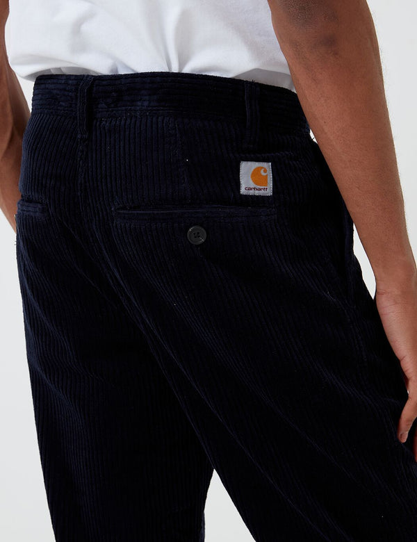 Carhartt-WIP Menson Pant (Stretch Corduroy, 10.9oz) - Dark Navy rinsed