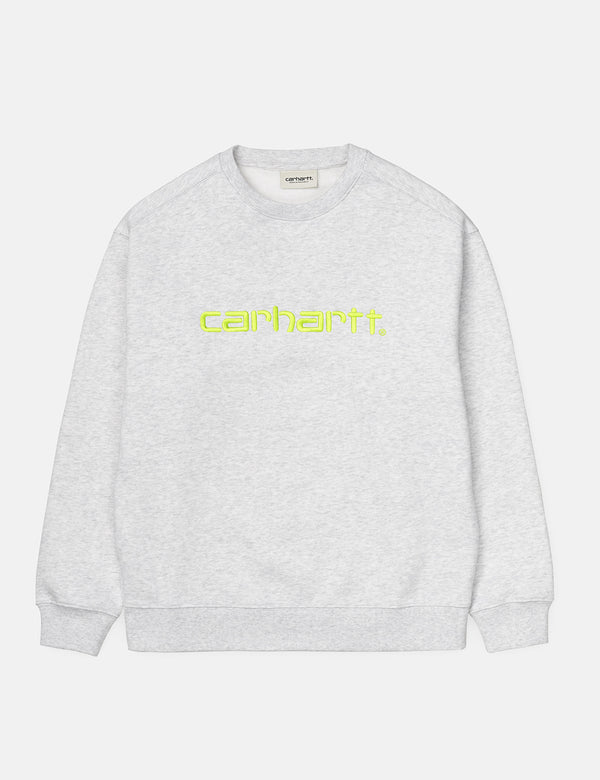Womens Carhartt-WIP Sweatshirt - Ash Heather/Lime