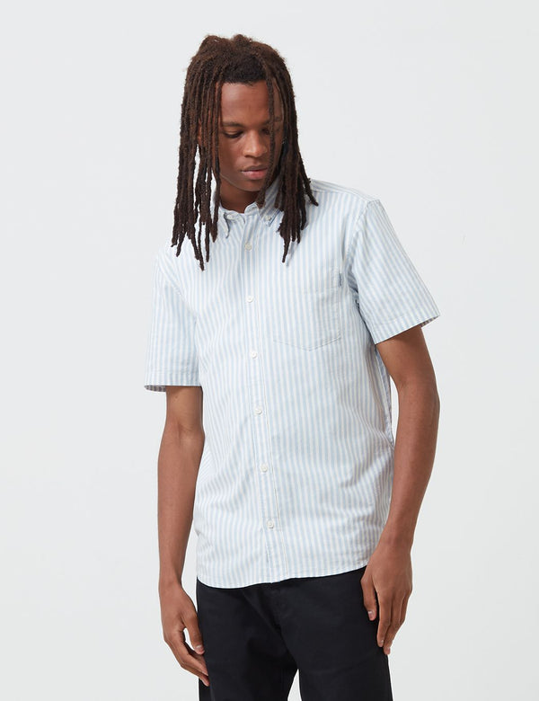 Carhartt-WIP Simon Shirt Short Sleeve (Stripe) - Bleach Blue