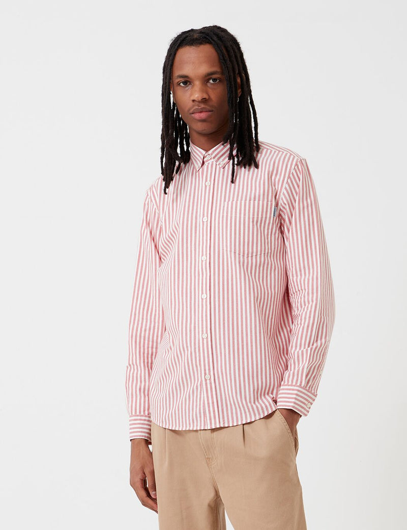 Carhartt-WIP Simon Shirt (Stripe) - Etna Red