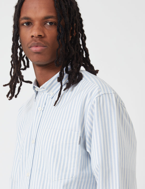 Carhartt-WIP Simon Shirt (Stripe) - Bleach Blue