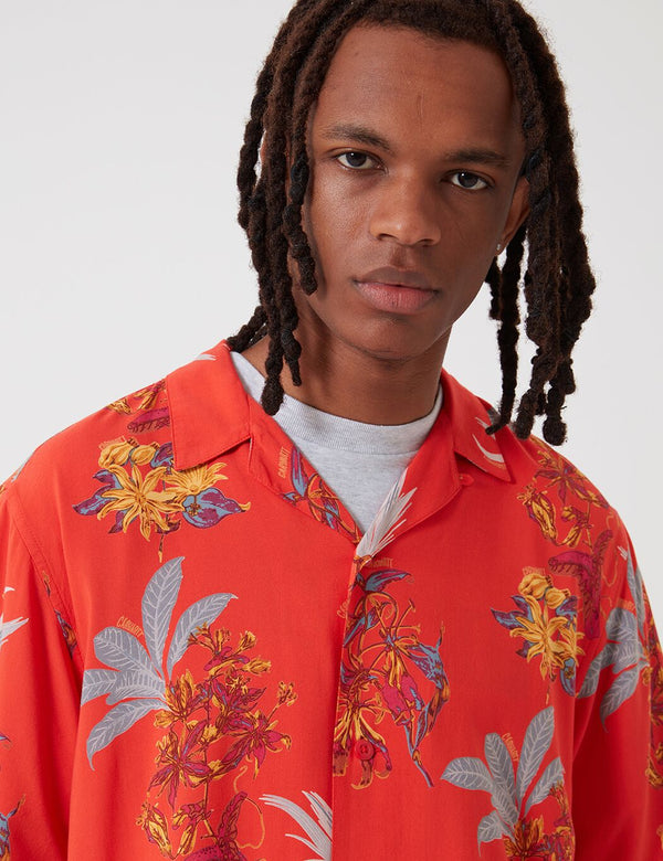 Carhartt-WIP Hawaiian Floral Shirt - Red/Hawaiian Floral Print
