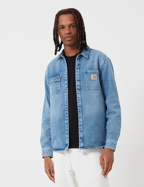 Carhartt-WIP Salinac Shirt Jacket (Denim) - Blue, Worn Bleached