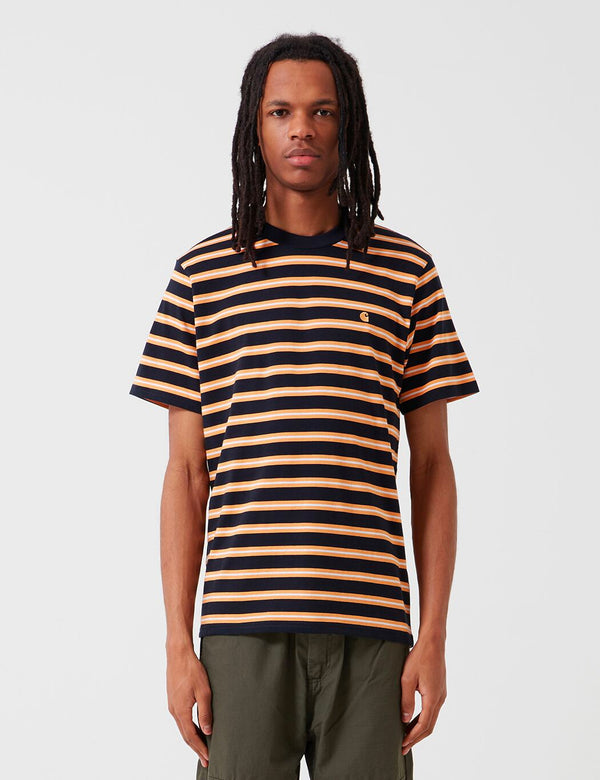Carhartt-WIP Oakland Streifen-T-Shirt - Dark Navy / Pop orange