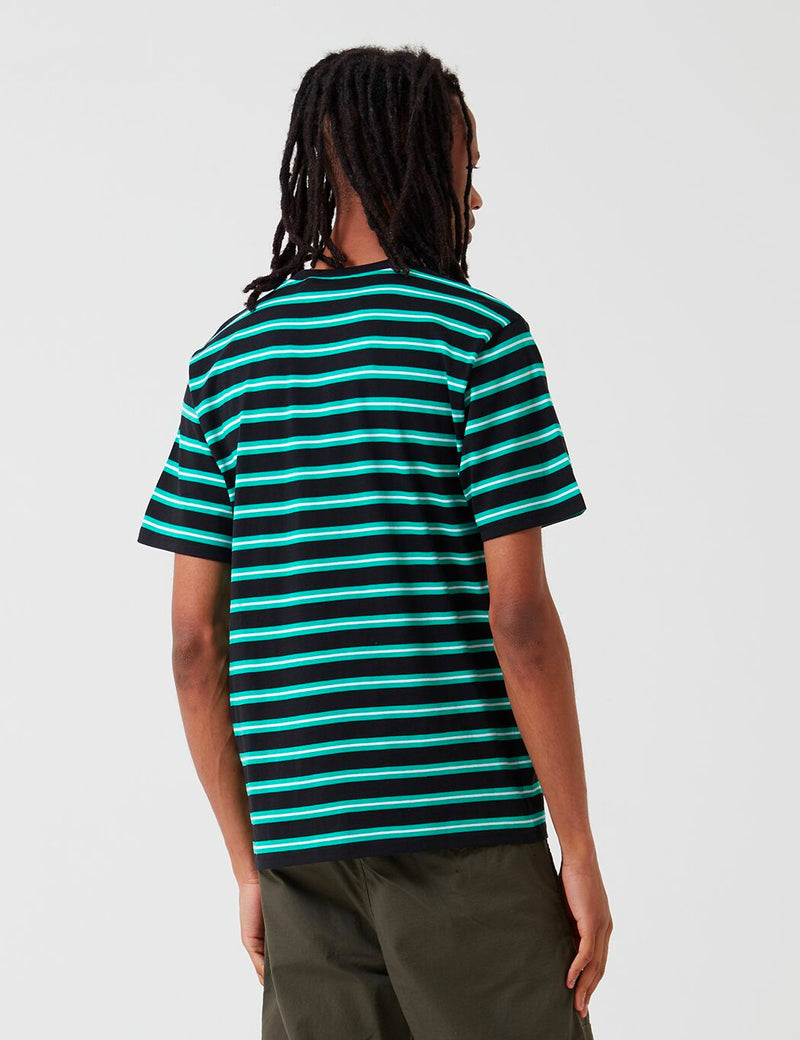 Carhartt-WIP Oakland Stripe T-Shirt - Black/Yoda Green