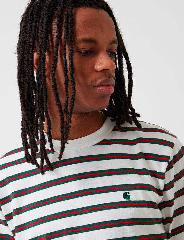 Carhartt-WIP Oakland Stripe T-Shirt - Wax/Treehouse
