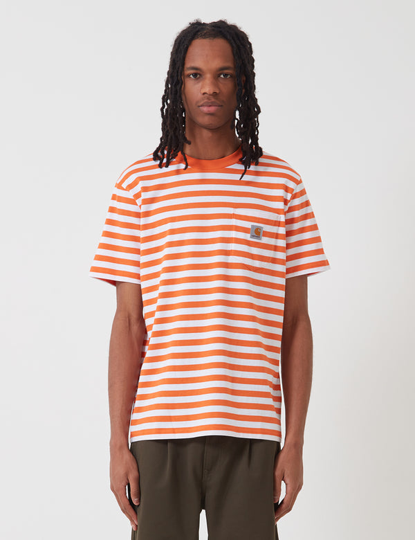 Carhartt-WIP Scotty Pocket T-Shirt (Stripe) - Clockwork Orange/White