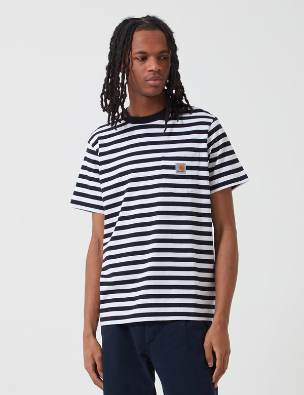 Carhartt-WIP Scotty Pocket T-Shirt (Stripe) - Dark Navy Blue/White