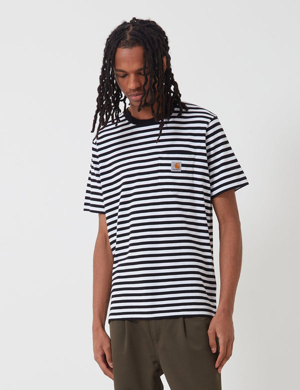 Carhartt-WIP Scotty Pocket T-Shirt (Stripe) - Black/White