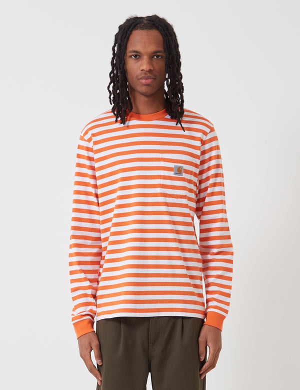 Carhartt-WIP Scotty Long Sleeve Pocket T-Shirt (Stripe) - Clockwork Orange/White
