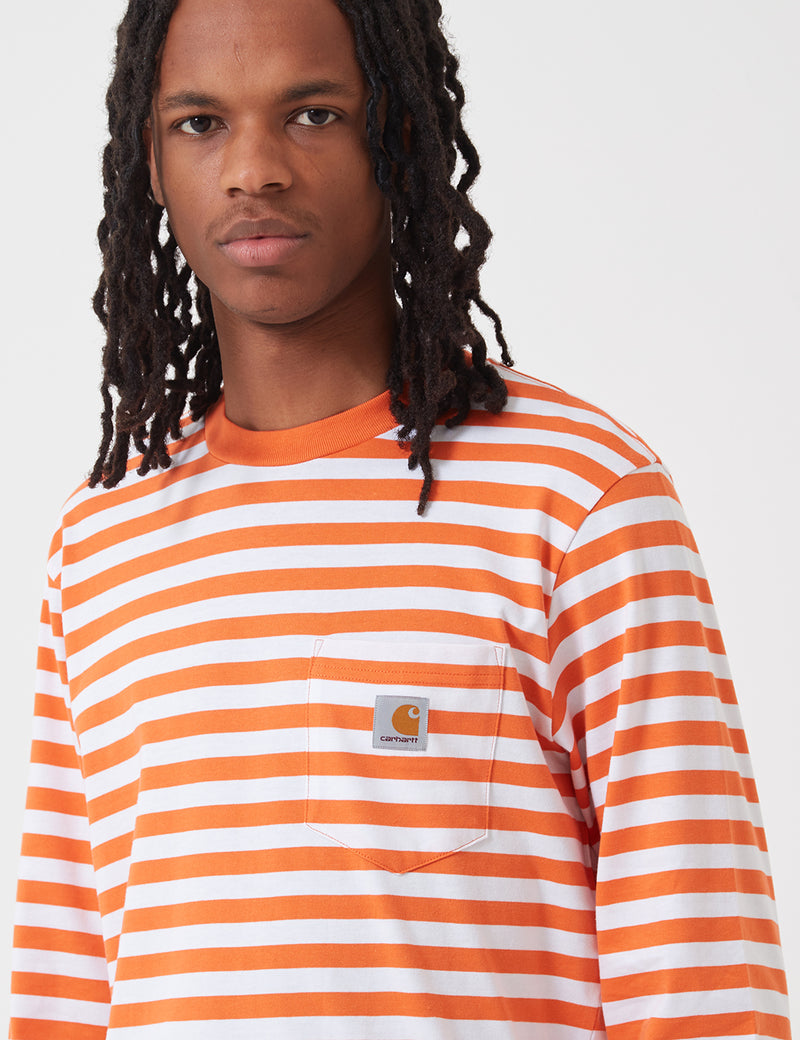 T-Shirt à Manche Longue Poche Carhartt-WIP Scotty (Stripe) - Clockwork Orange/White