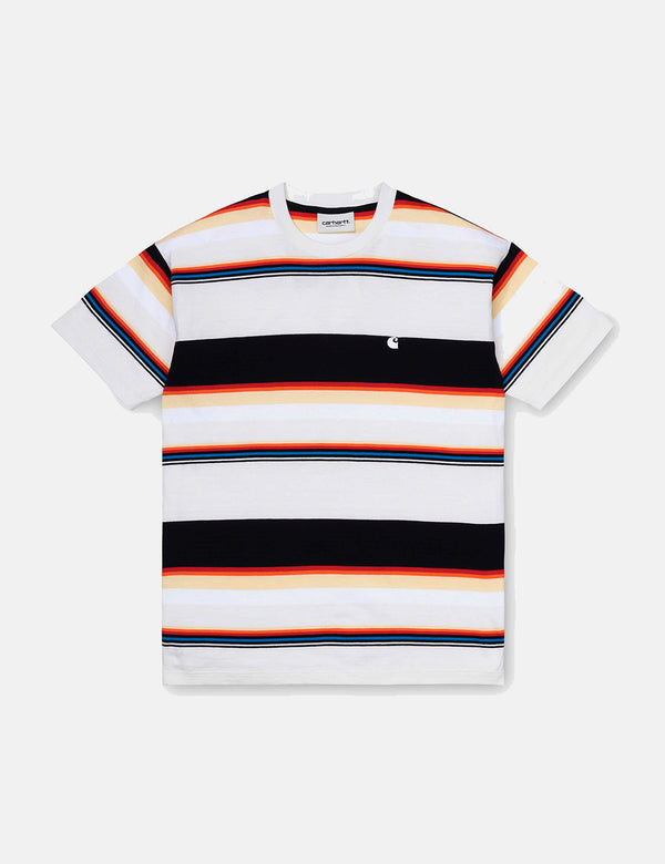 Womens Carhartt-WIP Sunder Stripe T-Shirt - Wax