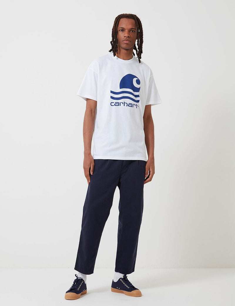 Carhartt-WIP Swim T-Shirt - White/Submarine Blue