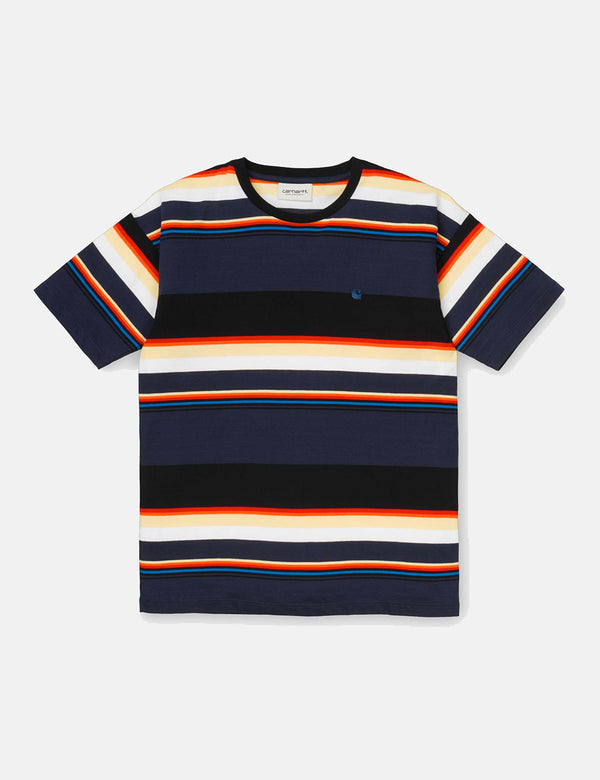 Womens Carhartt-WIP Sunder Stripe T-Shirt - Blue