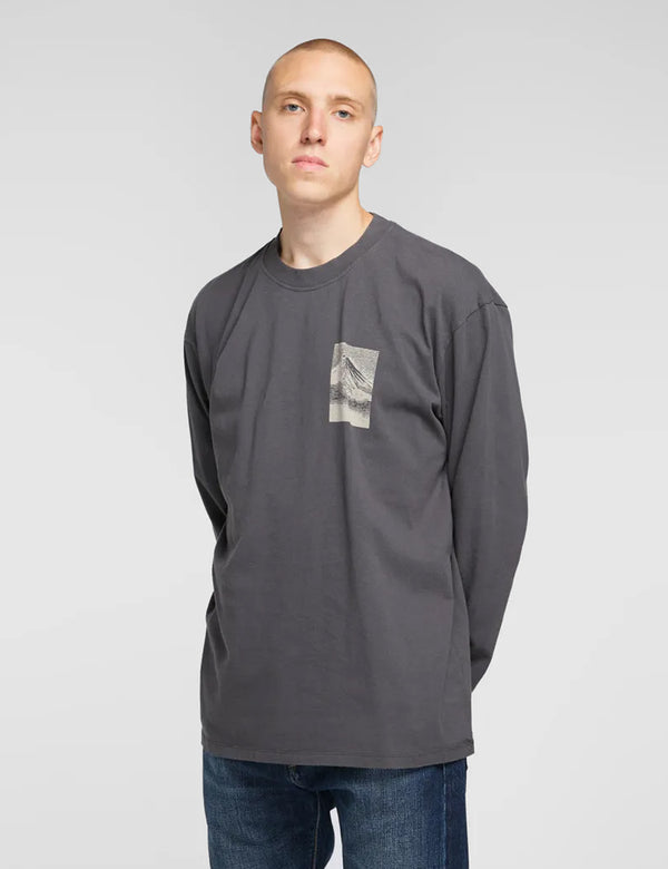 Edwin From Mt. Fuji LS T-Shirt - Ebony Black