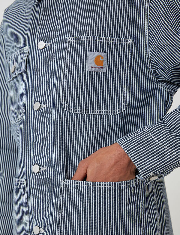 Carhartt-WIP Michigan Denim Coat (Hickory Stripe) - Blue/White Rinsed