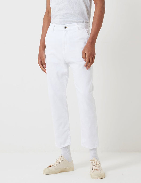 Edwin Universe Cropped Pant (Thorn Cotton Denim) - White, Garment Dyed