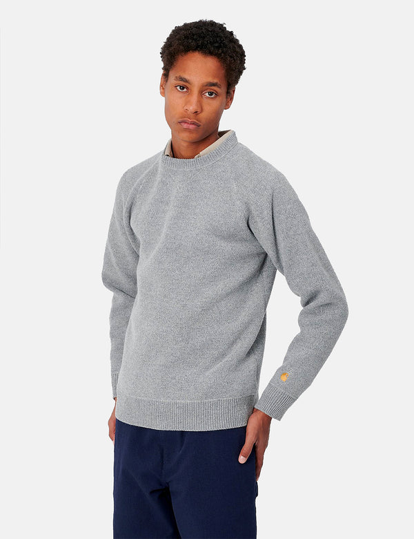 Carhartt-WIP Chase Sweater - Grey Heather/Gold