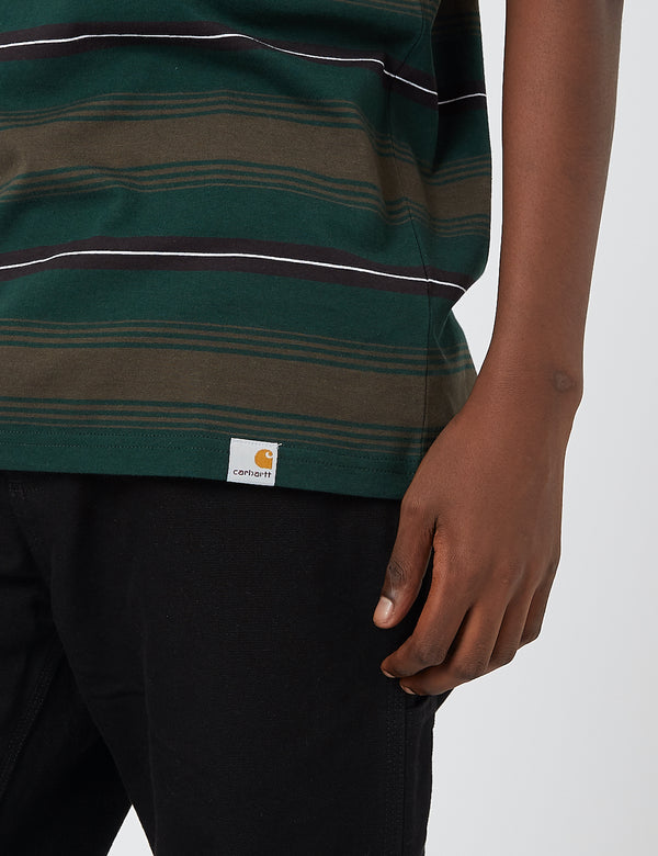 Carhartt-WIP Buren Stripe T-Shirt - Bottle Green