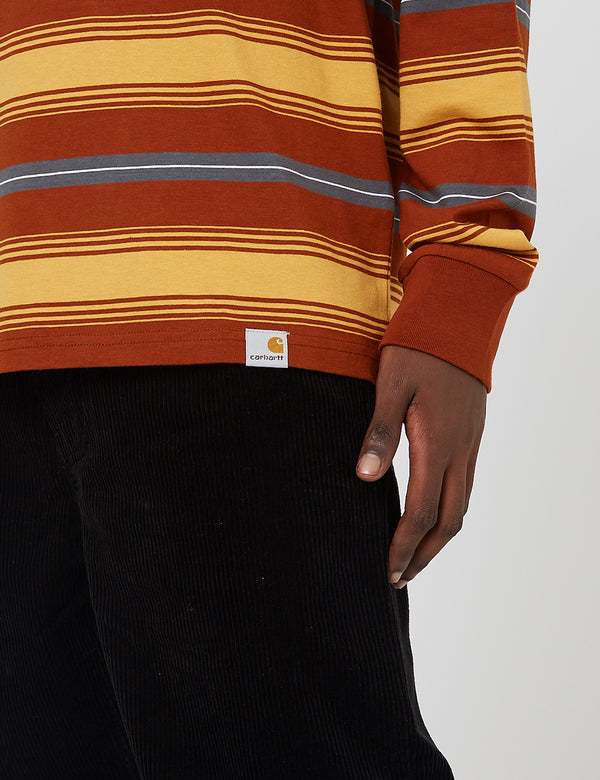 Carhartt-WIP Buren Stripe Long Sleeve T-Shirt - Brandy