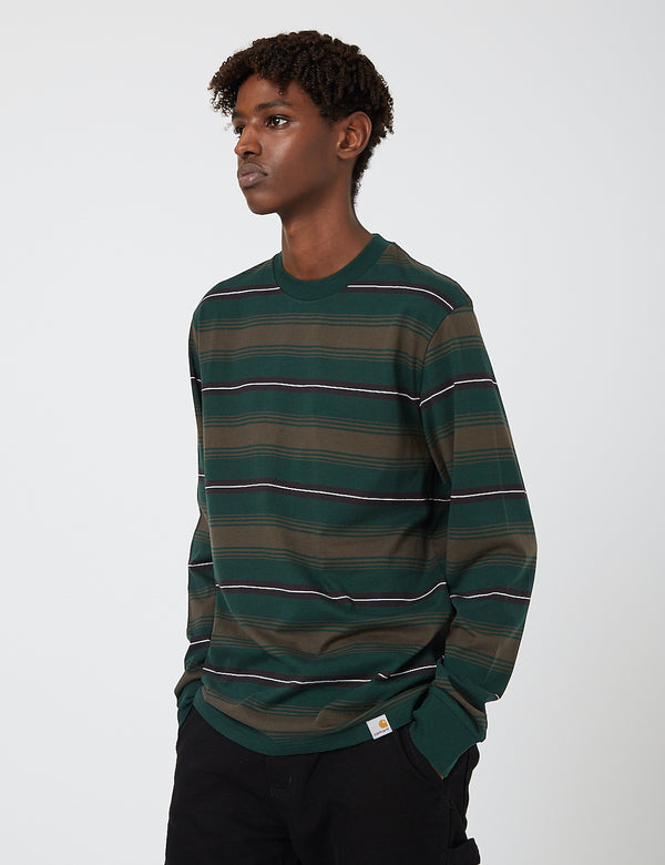 Carhartt-WIP Buren Stripe Long Sleeve T-Shirt - Bottle Green
