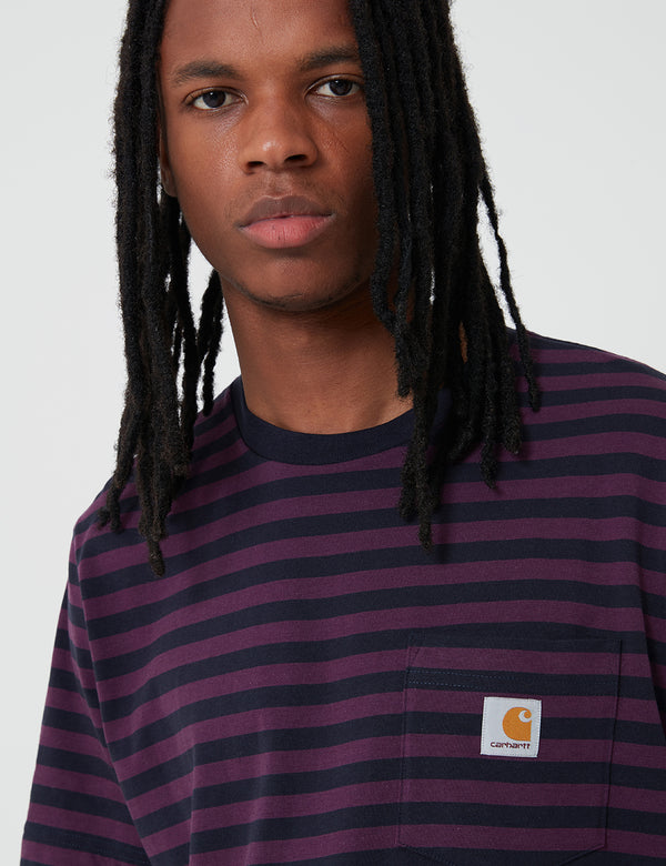 Carhartt-WIP Parker Pocket T-Shirt (Parker Stripe) - Dark Navy/Boysenberry