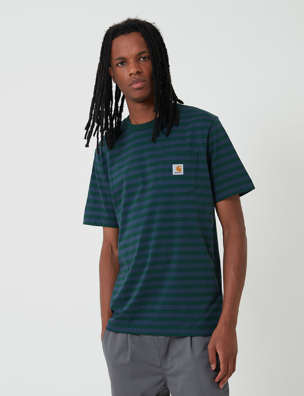 Carhartt-WIP Parker Pocket T-Shirt (Parker Stripe) - Bottle Green/Admiral