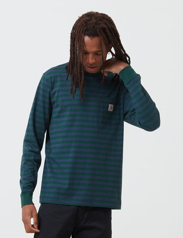 Carhartt-WIP Parker Pocket Long Sleeve T-Shirt (Parker Stripe) - Bottle Green/Admiral