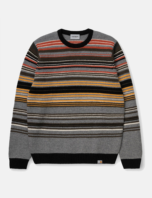 Pull Carhartt-WIP Gordon (Stripe) - Dark Grey Heather