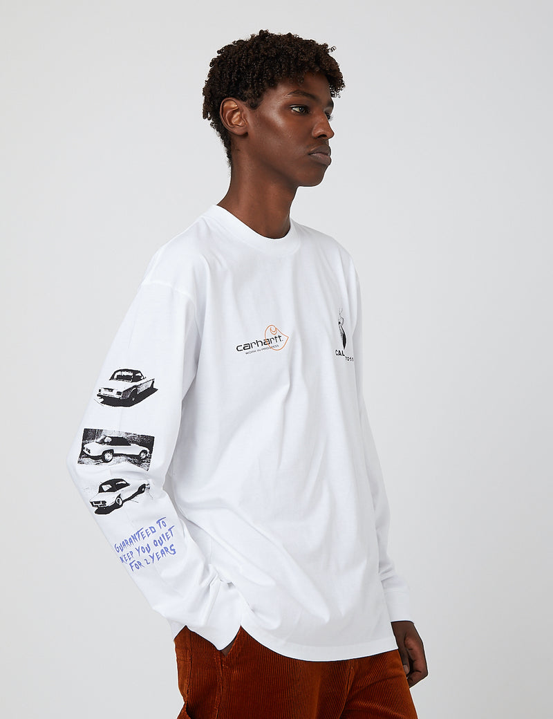 Carhartt-WIP Race Play Long Sleeve T-Shirt - White