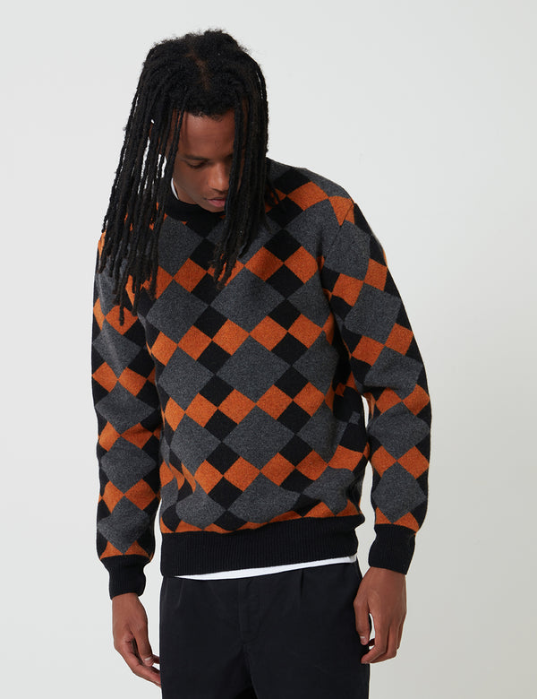 Edwin Lozenge Crew Sweater - Grey/Black/Auburn