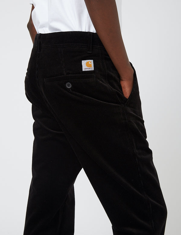 Pantalon Carhartt-WIP Menson (Stretch Velours côtelé, 10.9oz) - Black rinsed