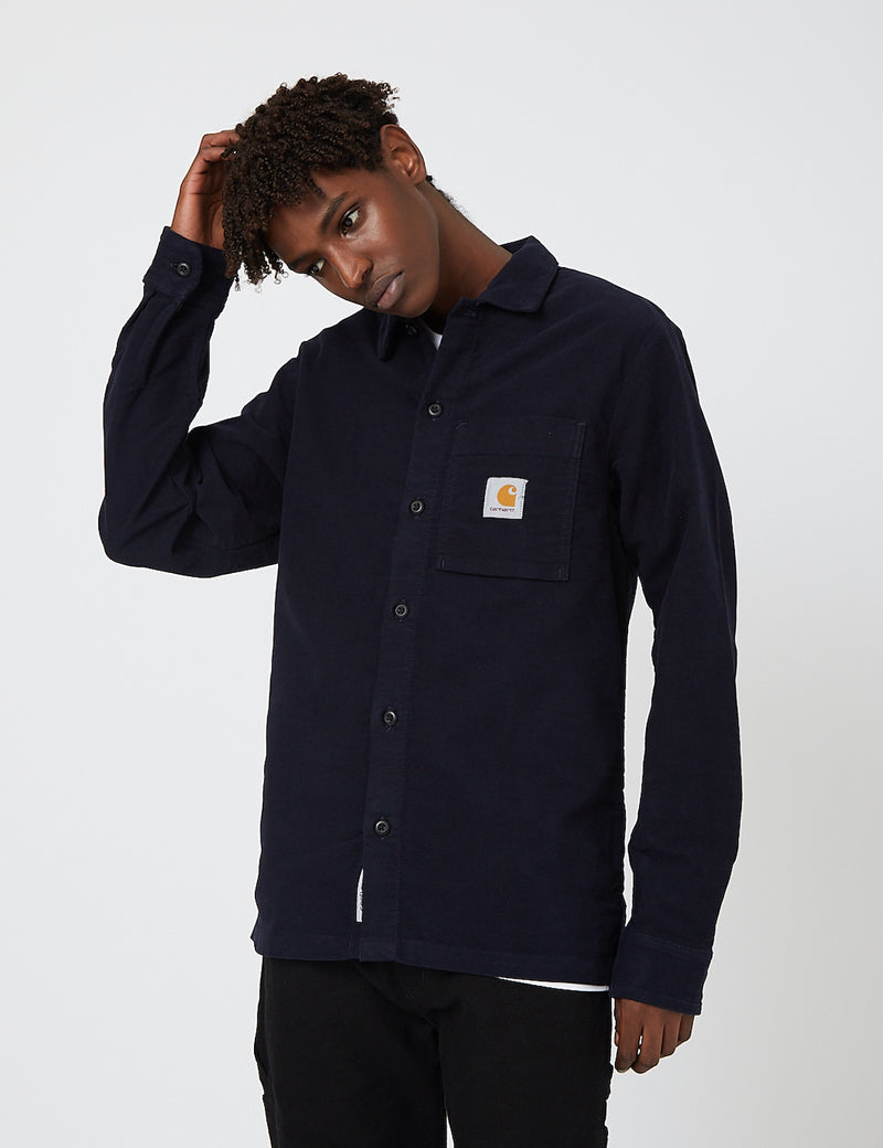 Carhartt-WIP Holston Shirt (Stretch Moleskin) - Dark Navy rinsed