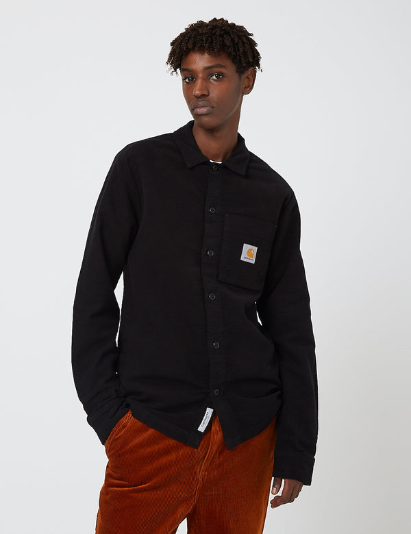 Carhartt-WIP Holston Shirt (Stretch Moleskin) - Black rinsed