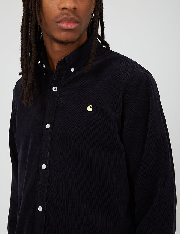 Carhartt-WIP Madison Cord Shirt (6.5 oz) - Dark Navy/Limoncello